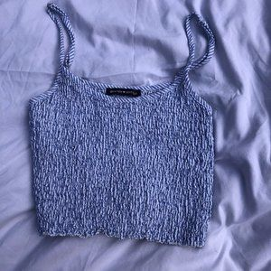 Blue and White Brandy Melville Crop Top